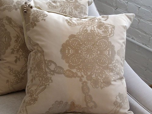 Pair of Cream Flocked Pillows