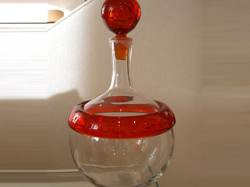 Vintage Gump's Red Blenko Decanter Special commission by Gump's of SF, 0124