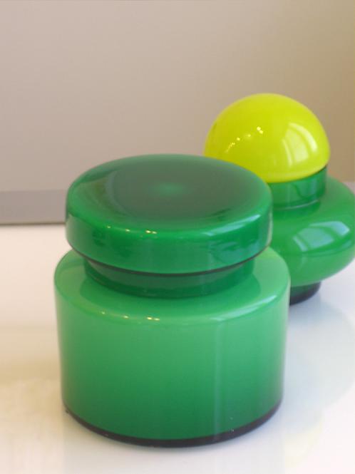 Vintage Italian Green Jar W/Lid  Vistosi, Empoli Cased Glass, 0296