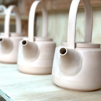 Bisque fired teapots