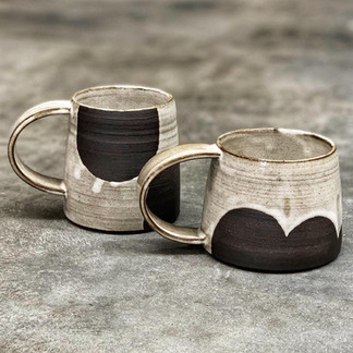 Rustic black clay cups