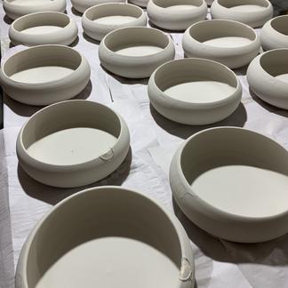 Freshly glazed bowls