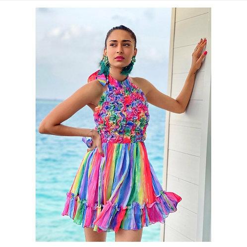 Halter neck rainbow mini dress