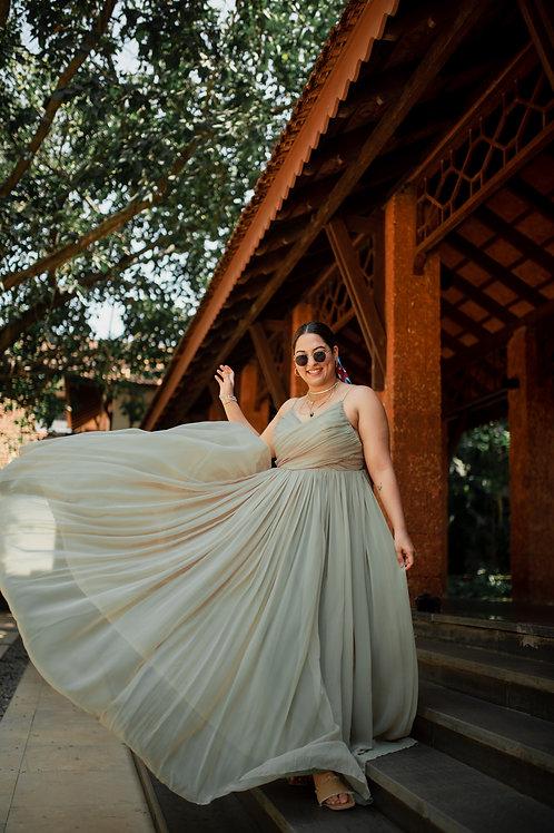 Pastel green beach wedding gown