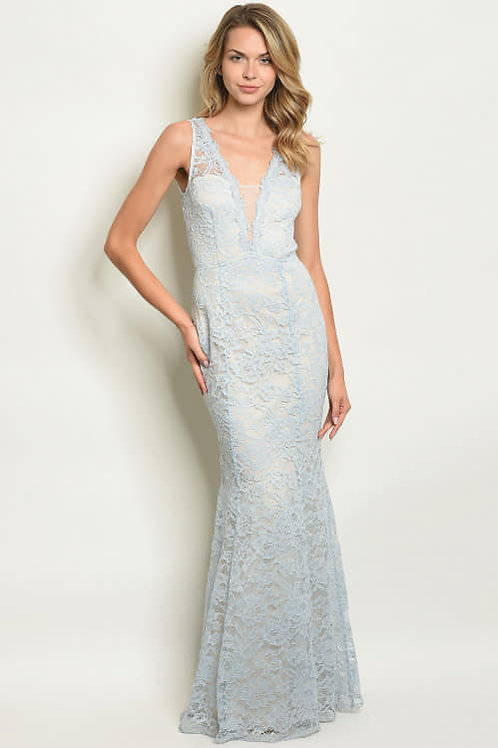 """""""MAJESTIC MERMAID"""" BLUE FLORAL LACE GOWN"""