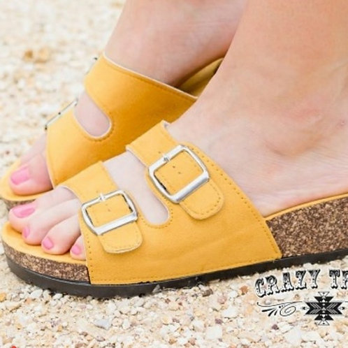"""""""SUNSHINE ON A CLOUDY DAY"""" YELLOW SANDALS"""
