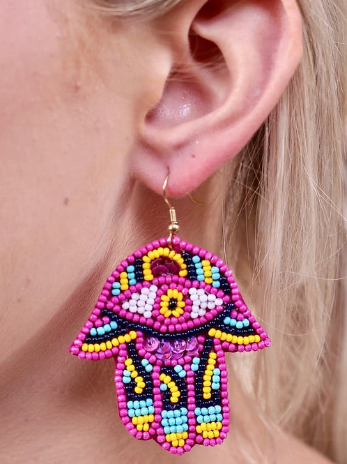 """ALL SEEING EYE"" SEED BEADED HAND EARRINGS"