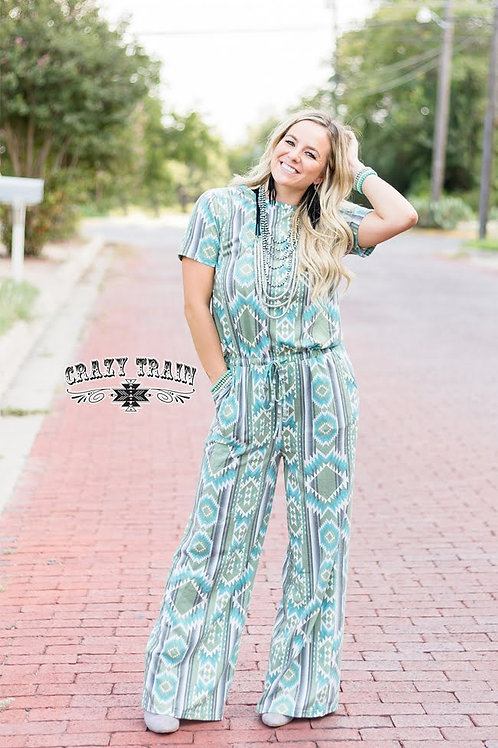 """THE LOVELY TRIBE"" AZTEC PRINTED JUMPSUIT"