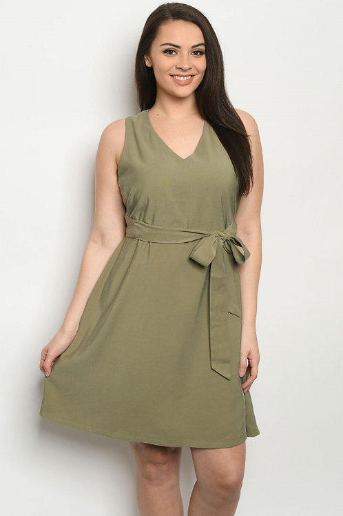"""""""OH MY OLIVE"""" SOLID GREEN TIE DRESS"""