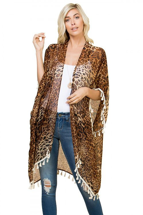 """QUEEN OF THE JUNGLE"" LEOPARD PRINT TASSEL KIMONO"