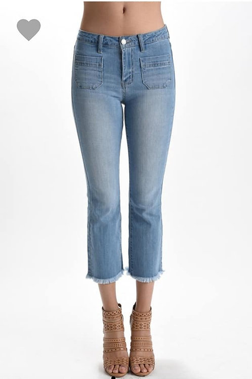 """HELLO WHELMA"" JUDY BLUE FRAYED JEANS"