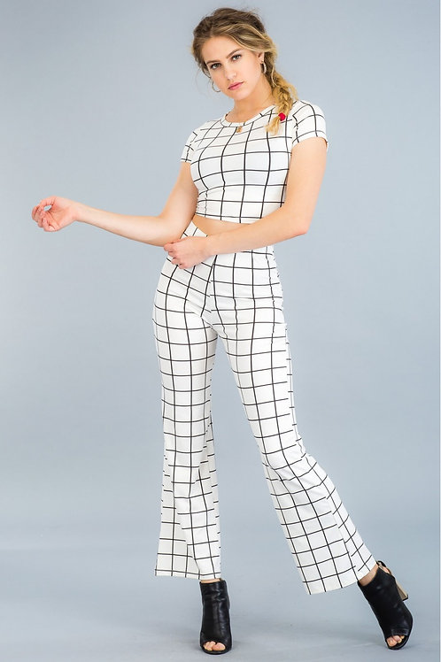 """""""CHECKER ME OUT"""" WHITE FLARE PANTS"""