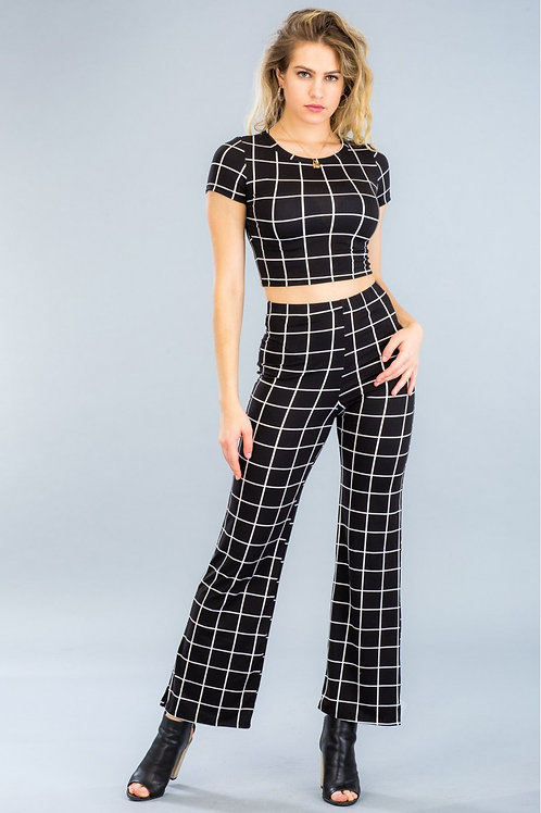 """""""CHECKER ME OUT"""" BLACK FLARE PANTS"""