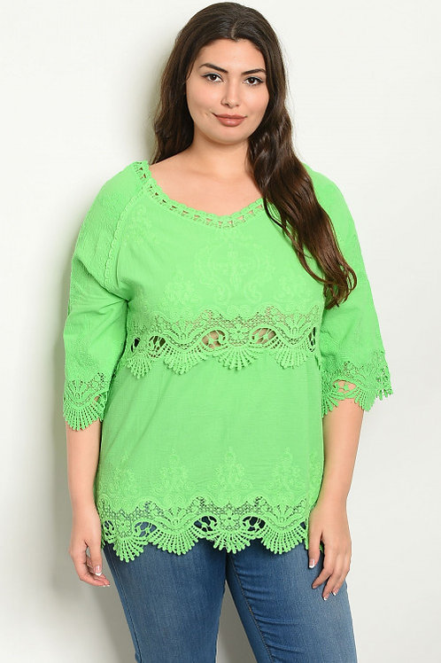 """""""BRIGHTLY BOLD"""" GREEN LACE PLUS TOP"""