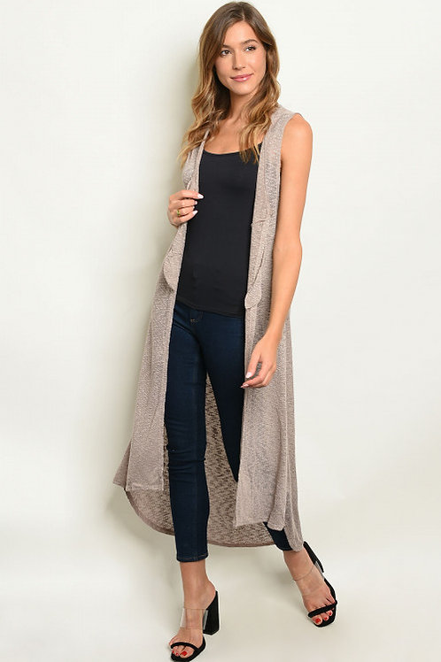 """""""SIMPLY TAUPE"""" KNIT KIMONO VEST DUSTER"""