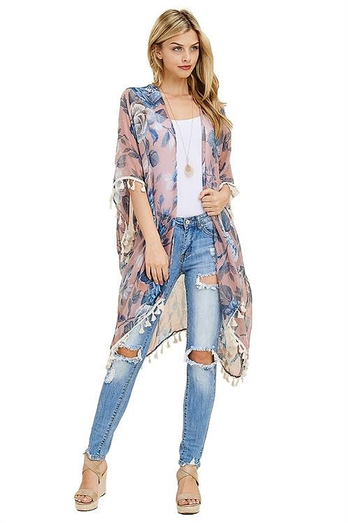 """LOVE AT FIRST SITE"" BLUE FLORAL KIMONO"