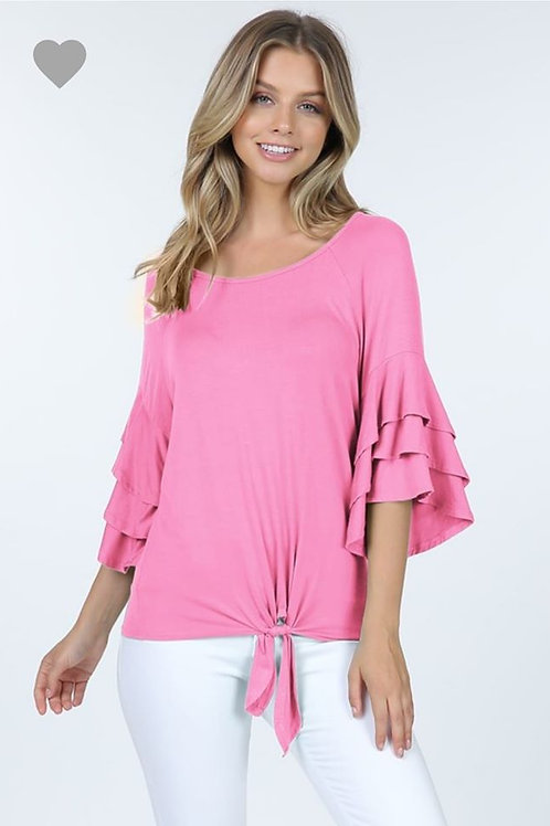 """PINK PERFECTION"" RUFFLED KNOTTED TOP"
