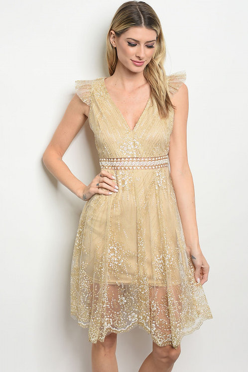 """THING OF BEAUTY"" NUDE LACE DRESS"