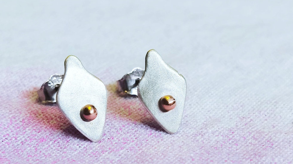 Sterling silver and 9ct gold 'Boho Ball Studs'