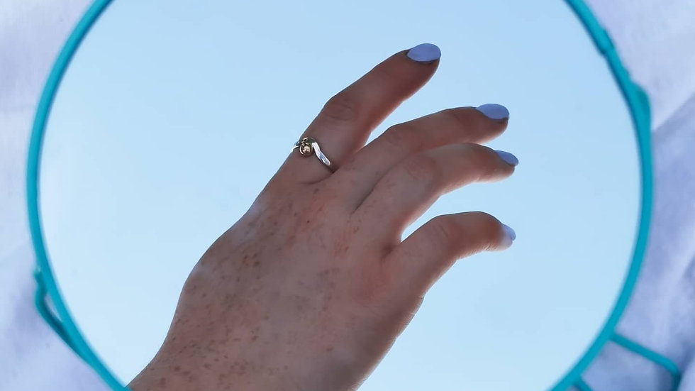 Sterling silver and 9ct gold 'Boho Ball ring'