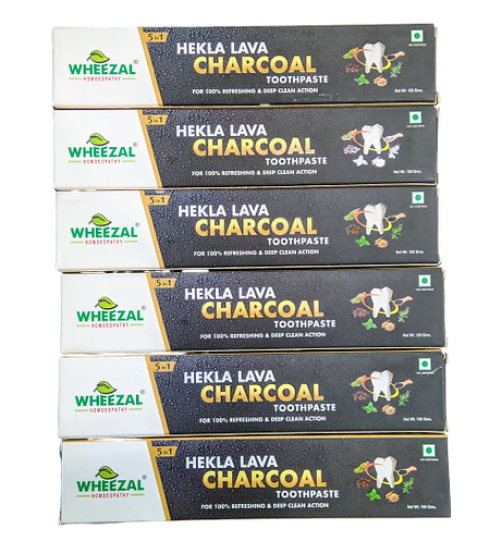 Wheezal Hekla Lava Charcoal Toothpaste (100g) Pack of 6