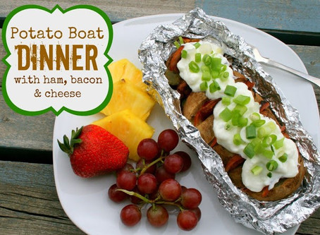 Potato Boat Dinner with Ham, Cheese & Bacon in Foil Packet