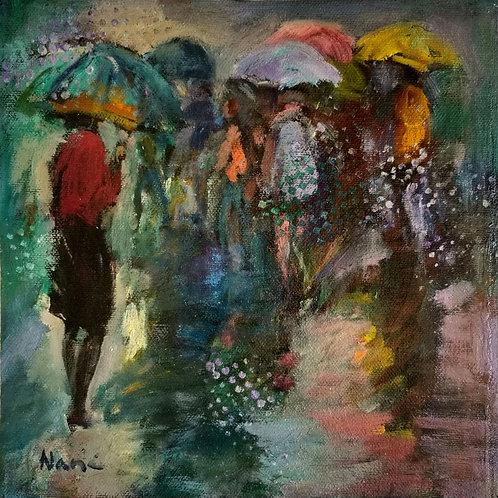 * Foule sous la pluie