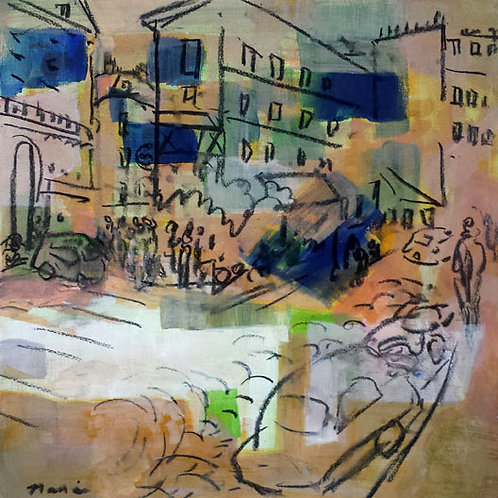 "MONMARTRE, Acrylic and charcoal on Rives paper. 14 x 14"" or 36 x 36 cm"