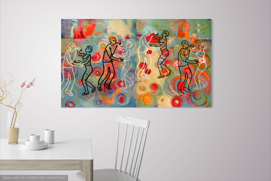 Dancing in Colors, acrylic on board, 64 x 40 inch.