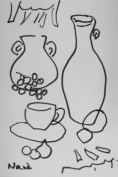 * Deux vases et une tasse