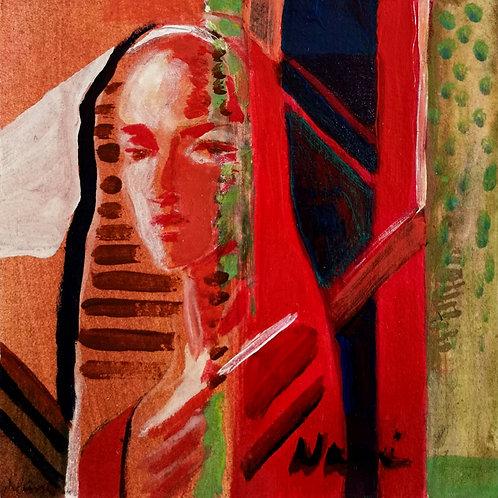 "INTERNAL STRENGTH, acrylic on Rives paper, framed. 5.5 x 5.5"" or 13 x 13 cm"