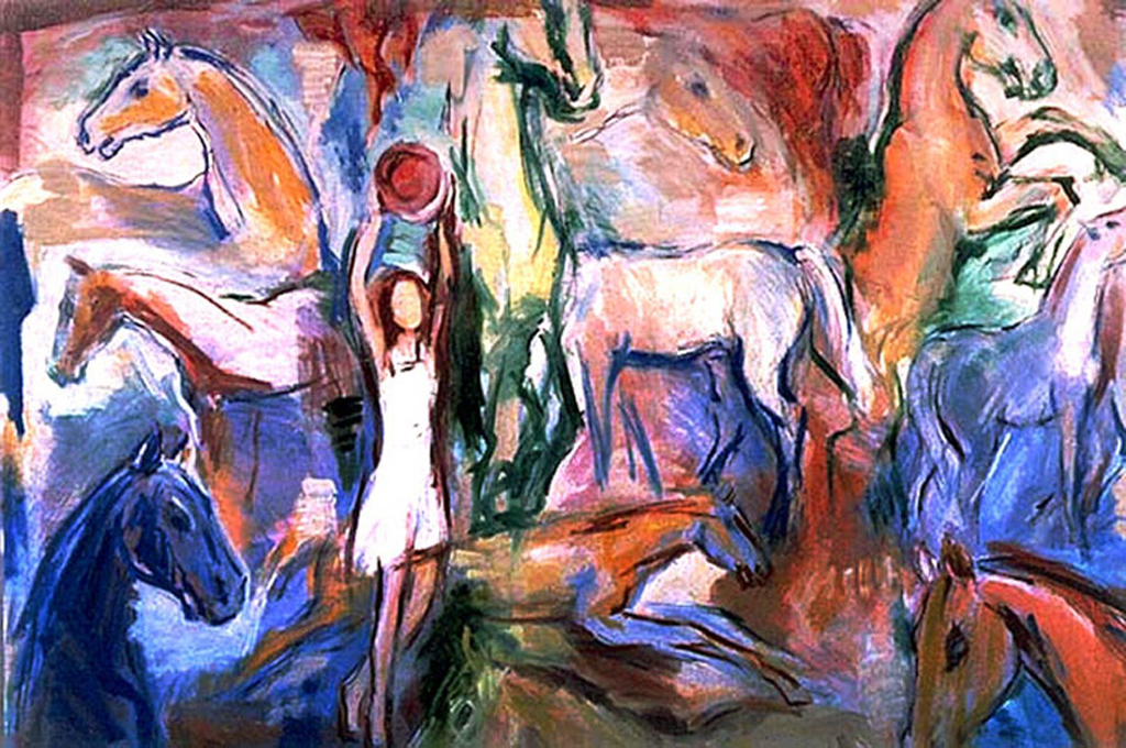 Horses and a girl in white