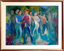AMM35-Dancers-in-Greens-22x30-Framed