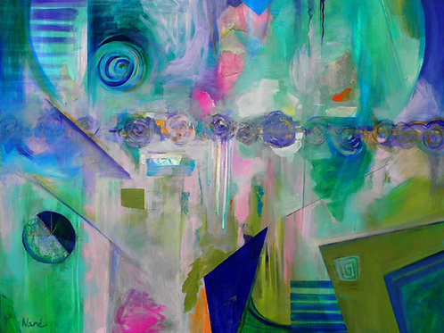 """TIME, mixed media on canvas, 48 x 60 x 2"""" or  122 x 152 x 5 cm"""