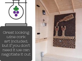 Great looking wine cork art included, but if you do not need it we can negotiate it out