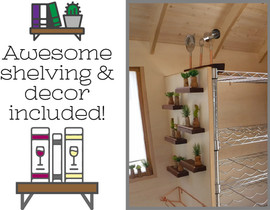 Awesome shelving and decor included!