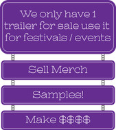 We only have 1 trailer for sale use it for festivals / events Sell merch Samples! Make $$$$