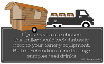 If you have a warehouse the trailer would look fantastic next to your winery equipment.  Sell merchandise / wine tasting / samples / sell drinks