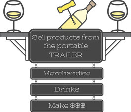 Sell products from the portable TRAILER merchandise Drinks Make $$$