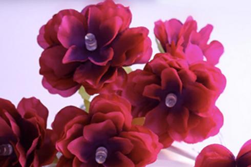 Гирлянда с бордовыми цветочками