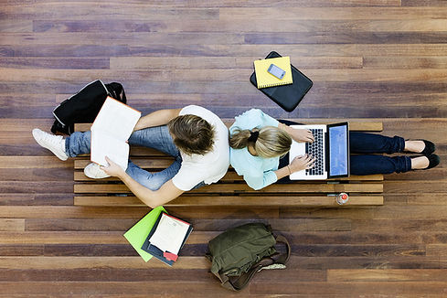 Male and female students doing schoolwork