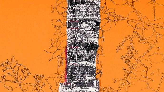 Art Print of Purdown Tower, Bristol on orange