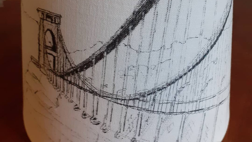 Hand-drawn lamp shade of Clifton Suspension Bridge