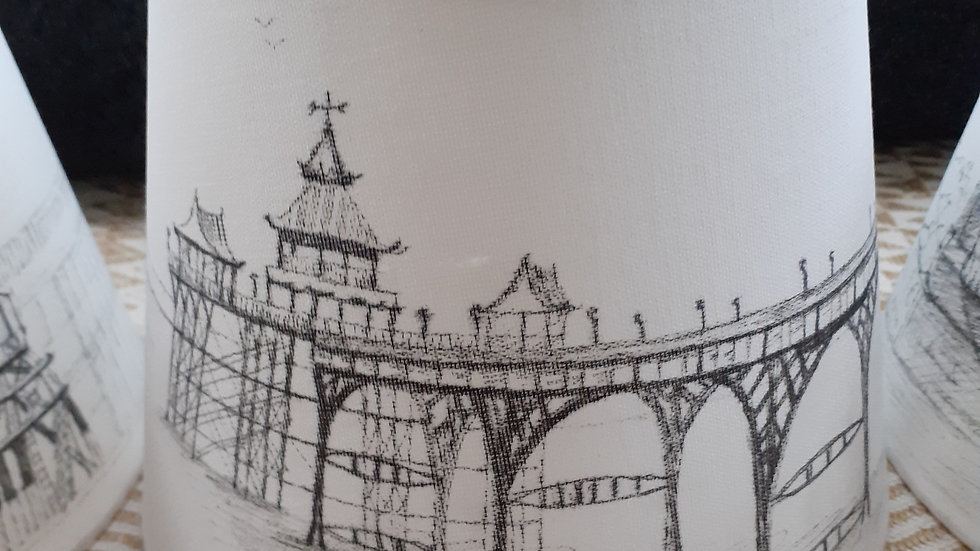 Hand-drawn lamp shade of Clevedon Pier