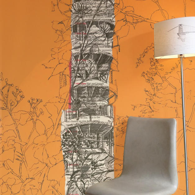 Purdown Tower on orange as Wallpaper