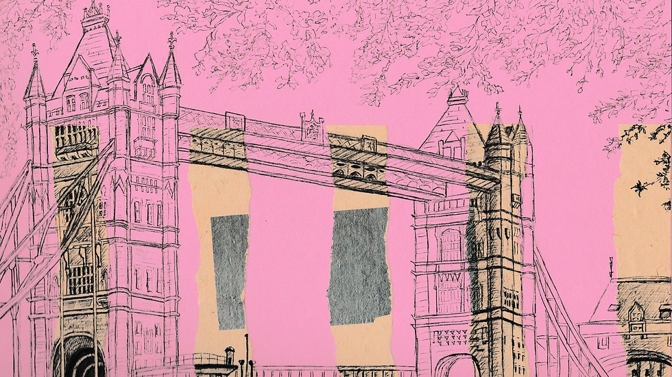 Art Print of Tower Bridge on pink