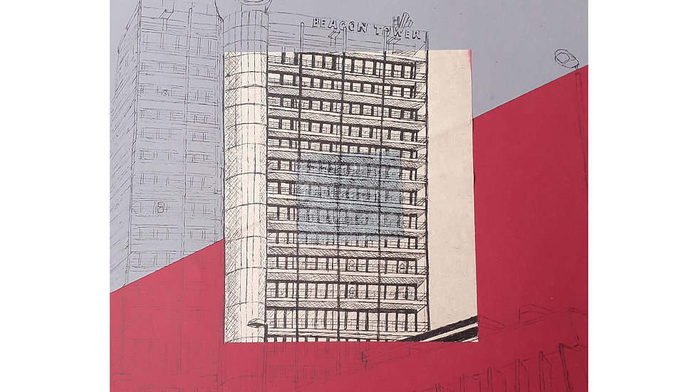 Art Print of Beacon Tower, Bristol on Grey/Red