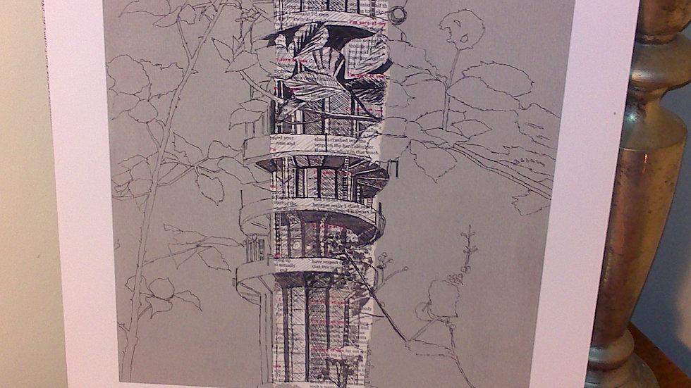 Art Print of Purdown Tower on grey