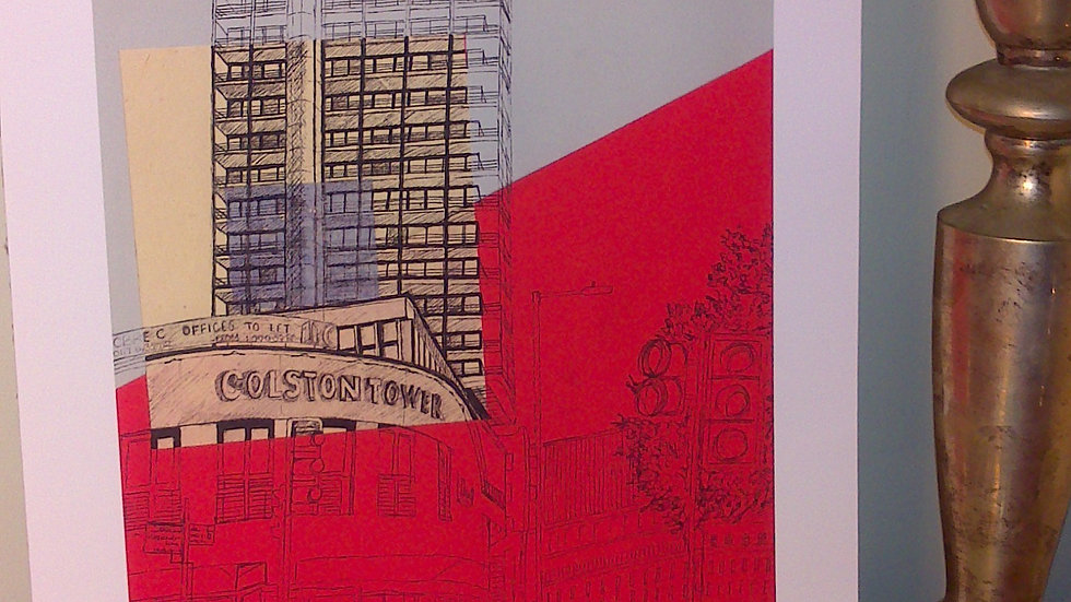 Art Print of Office Tower Block, Bristol on Grey/Red