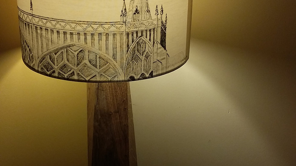 Hand-drawn lamp shade of St Mary Redcliffe